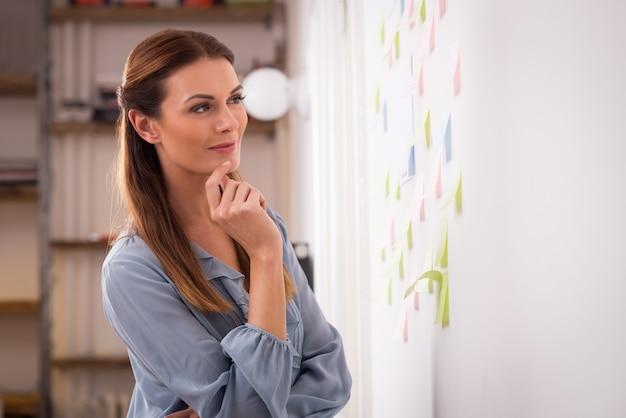 Gelukkige vrouw die plaknotities op muur kijkt. geconcentreerde vrouw kunstenaar kijken naar kleurrijke plaknotities op kantoor. jonge ontwerper die plaknotities op wallin creatief bureau bekijkt.