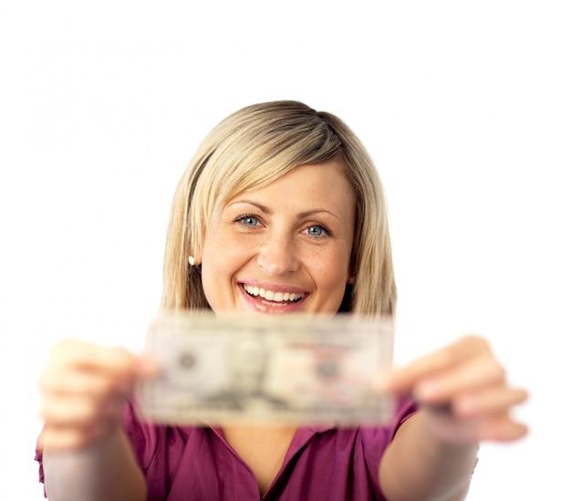 Gelukkige vrouw met dollars