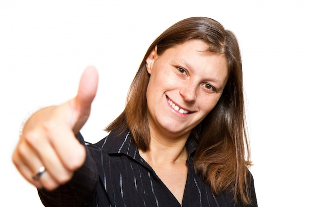 Gelukkige vrouw met omhoog duimen