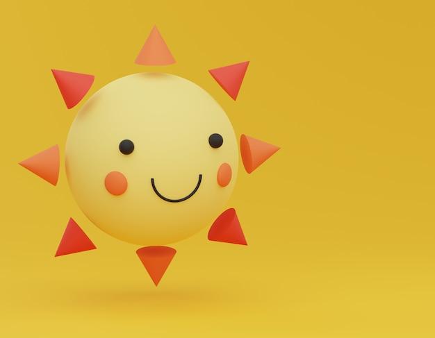 Gelukkige zon die in de lucht drijft