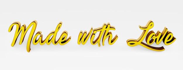 Gemaakt met liefde. een kalligrafische uitdrukking. 3d-logo in de stijl van handkalligrafie op een witte uniforme achtergrond met schaduwen. 3d-rendering.