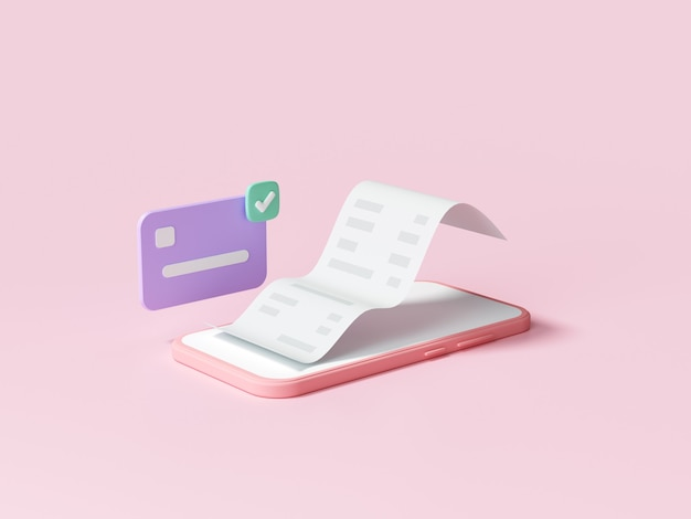 Gemakkelijk contactloos betalen via smartphoneconcept. online mobiel winkelen en betalingstransactie. 3d render illustratie