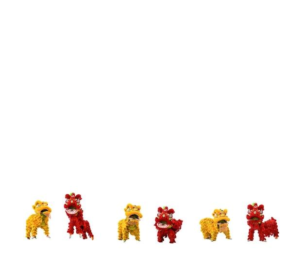 Gemanipuleerde gouden gele en rode chinese leeuwviering
