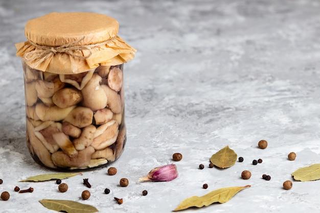 Gemarineerde champignons kunnen. ingeblikte champignonpot. bewaard bos eekhoorntjesbrood met kopie ruimte.
