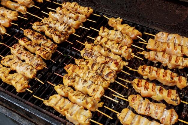 Gemarineerde shashlik die op een barbecuegrill over houtskool voorbereidingen treffen.
