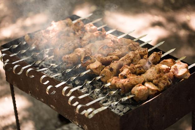 Gemarineerde sjasliek die op een barbecue boven houtskool wordt voorbereid