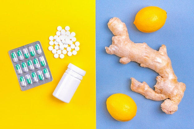 Gember, citroen, honing, verschillende medicijnen. alternatieve remedies en traditionele pillen om verkoudheid en griep te behandelen