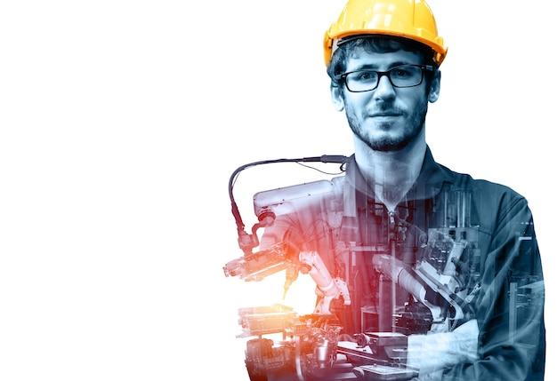 Gemechaniseerde industrie robotarm en fabrieksarbeider dubbele belichting