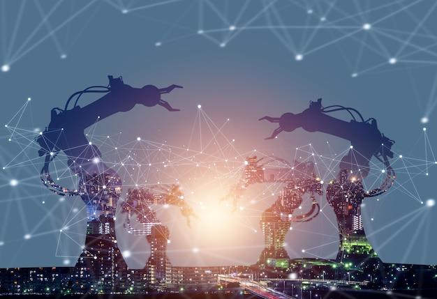 Gemechaniseerde industrie robotarmen in de toekomstige fabriek