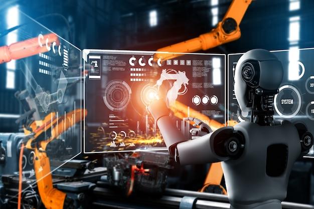 Gemechaniseerde industriële robot en robotarmen voor montage in fabrieksproductie.