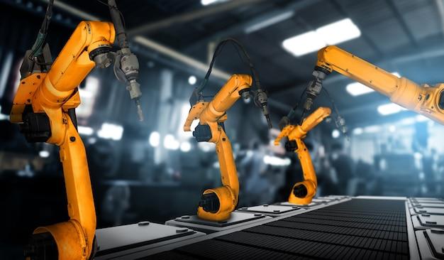 Gemechaniseerde industriële robotarm voor montage in de productielijn in de fabriek