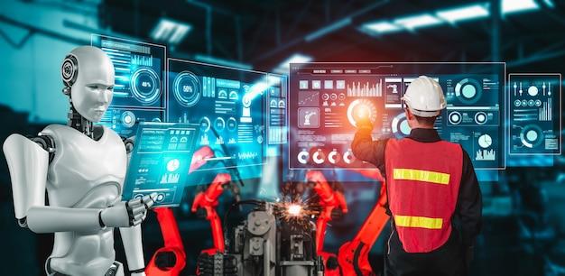Gemechaniseerde industrierobot en menselijke arbeider die in toekomstige fabriek samenwerken