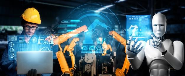 Gemechaniseerde industrierobot en menselijke arbeider werken samen in toekomstige fabriek