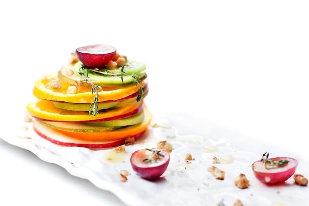 Gemengd fruit zoet dessert - salade - stock beeld
