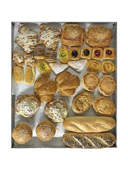 Gemengd gebakken bakkerij en brood, bovenaanzicht