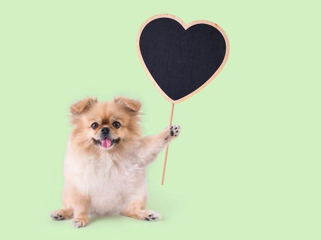Gemengd ras hond zit met een hart vorm houten bord