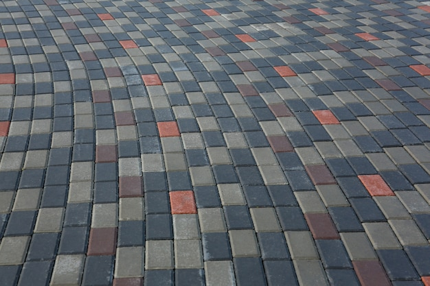Gemetselde stenen bestrating op een voetpad of trottoir
