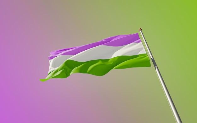 Genderqueer pride flag. 3d-illustraties