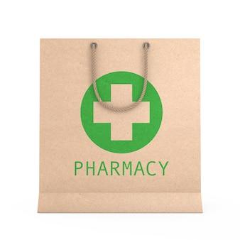 Geneeskunde papier gerecycleerde zak met apotheek teken op een witte achtergrond. 3d-rendering