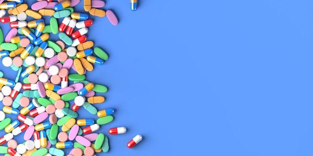 Geneeskunde tabletten en capsules op blauwe achtergrond. gezondheidszorgconcept. ruimte kopiëren. 3d illustratie.