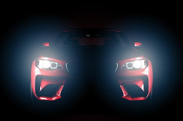 Generieke rode merkloze sportauto die op een donkere achtergrond met koplampen wordt geïsoleerd