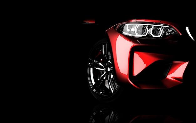 Generieke rode sport merkloze auto geïsoleerd op een donkere achtergrond