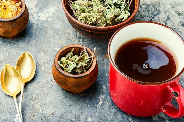 Genezende kruiden en kruidenthee.glazen kopje groene thee