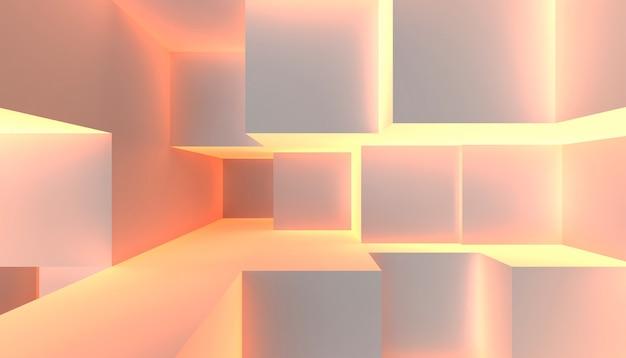 Geometrie warm licht kubus split level scene