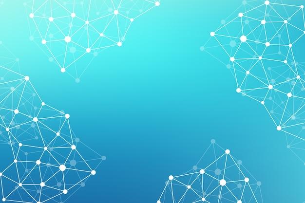 Geometrisch abstracte achtergrond met aaneengesloten lijn en punten. netwerk- en verbindingsachtergrond voor uw presentatie. grafische veelhoekige achtergrond. wetenschappelijke illustratie, rasterillustratie.