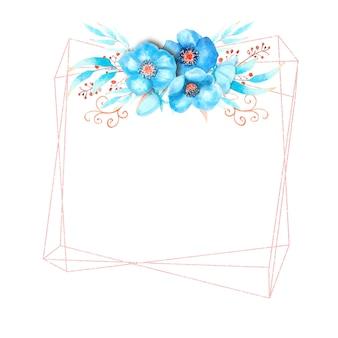 Geometrisch frame met blauwe nieskruid bloemen, knoppen, bladeren, decoratieve twijgen op een witte geïsoleerde achtergrond. boeket bovenaan. aquarel illustratie.