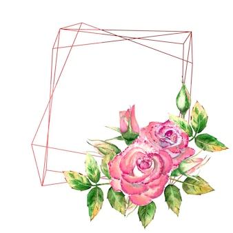 Geometrisch frame versierd met bloemen