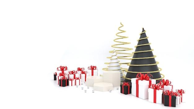 Geometrisch gevormde sokkel op de witte ruimte met witte geschenkdoos