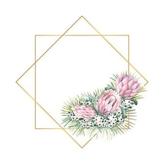 Geometrisch gouden frame met proteabloemen, tropische bladeren, palmbladeren, bouvardiabloemen
