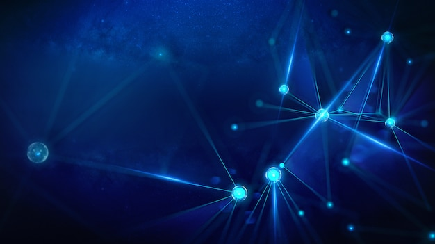 Geometrisch landschap en futuristische digitale blockchain fintech-technologie.