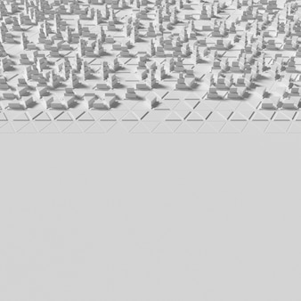 Geometrisch oppervlak met overvolle 3d-veelhoekige vormen