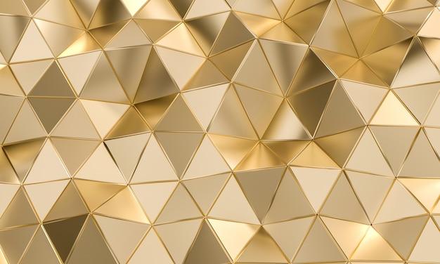 Geometrisch patroon met driehoekige vormen in goudkleurig metaal.