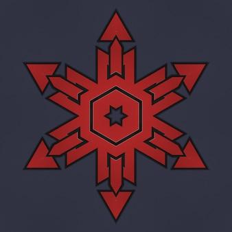 Geometrisch patroon van rode kleur, scandinavische keltische stijl. illustratie van een abstracte geweven patroonachtergrond. elementen van een geometrisch patroon op een donkere achtergrond
