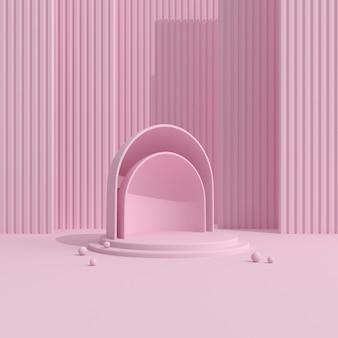 Geometrisch roze podium voor productpresentatie.