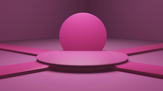 Geometrisch roze podium voor producttribune teruggeven