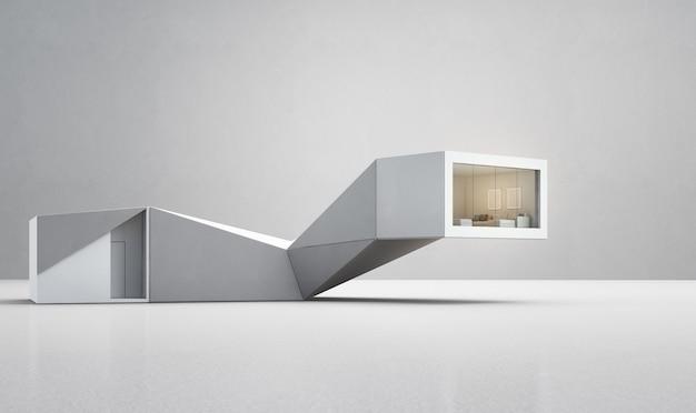 Geometrisch vormenhuis op witte vloer met lege concrete muur in slim huisconcept.