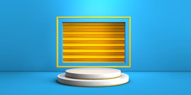 Geometrisch wit stadium op blauwe en gele achtergrond voor productconcept het 3d teruggeven