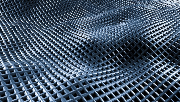 Geometrische abstracte raster golven op een zwarte achtergrond.