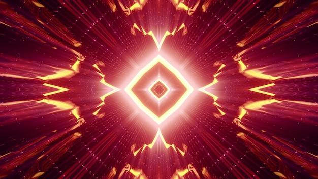 Geometrische abstracte tunnel met ruitvormig ornament en kristallen muren die gloeien met rood neonlicht