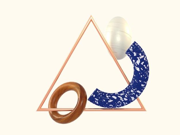 Geometrische abstracte vorm blauw marmer houten driehoek koperen kader 3d-rendering