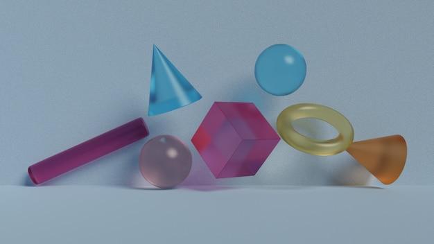Geometrische abstracte zwevende glasvormen