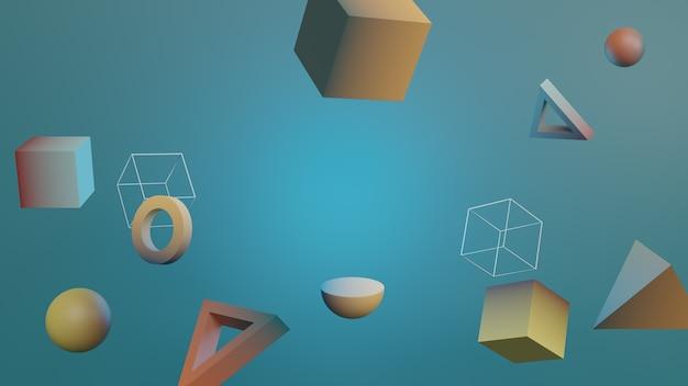 Geometrische abstracte zwevende vormen