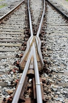 Geometrische compositie met treinsporen in perspectief richting horizon