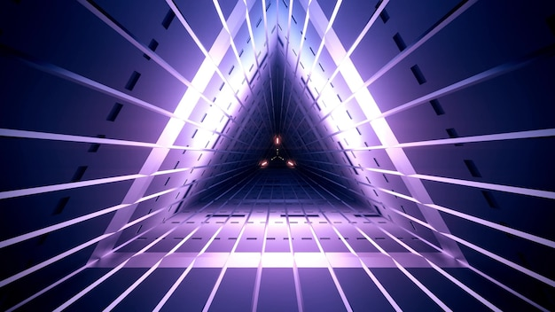 Geometrische donkerviolet tunnel van driehoekige vorm met rechte neonlijnen