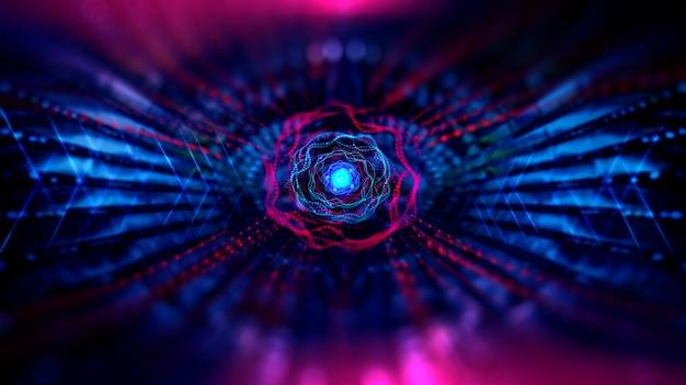 Geometrische en wetenschappelijke technologie en futuristische digitale blockchain-technologie.