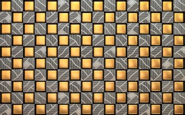 Geometrische goud en stalen muur. 3d render